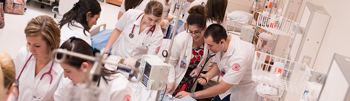 Students in a nursing lab