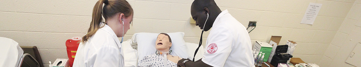 Two D'Youville students practice on an artificial patient.
