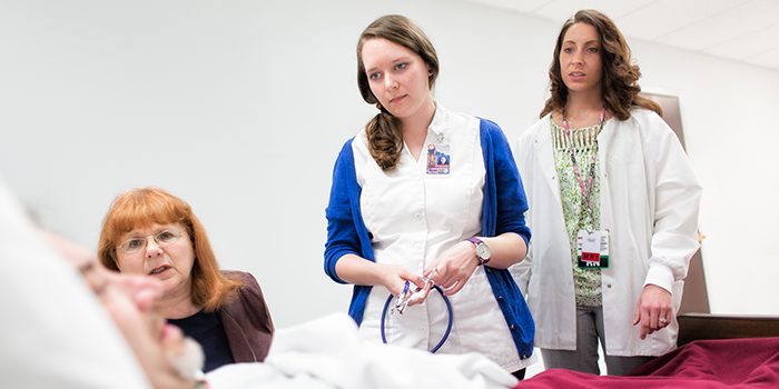 A nursing student participating in the Interdisciplinary Education Lab.