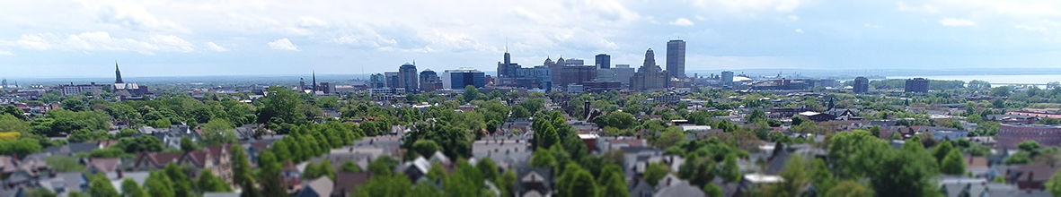An aerial of downtown Buffalo.