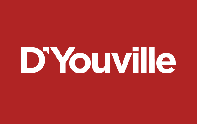 The D'Youville logo on a red background.