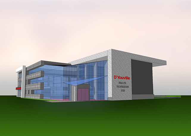 A computer rendering of the Health Professions Hub.