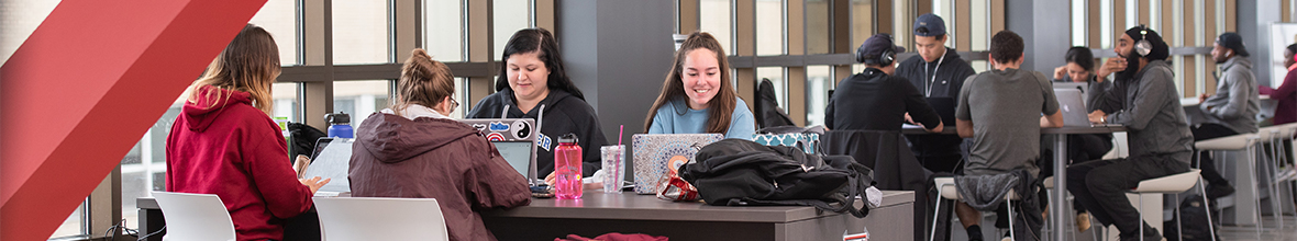 Students studying together in the DAC.